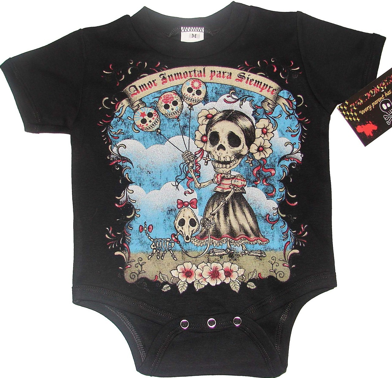 Punk day of the dead amor inmortal para siempre baby for Baby onesie t shirt