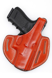 Leather 3 - slot PANCAKE Holster - with retention