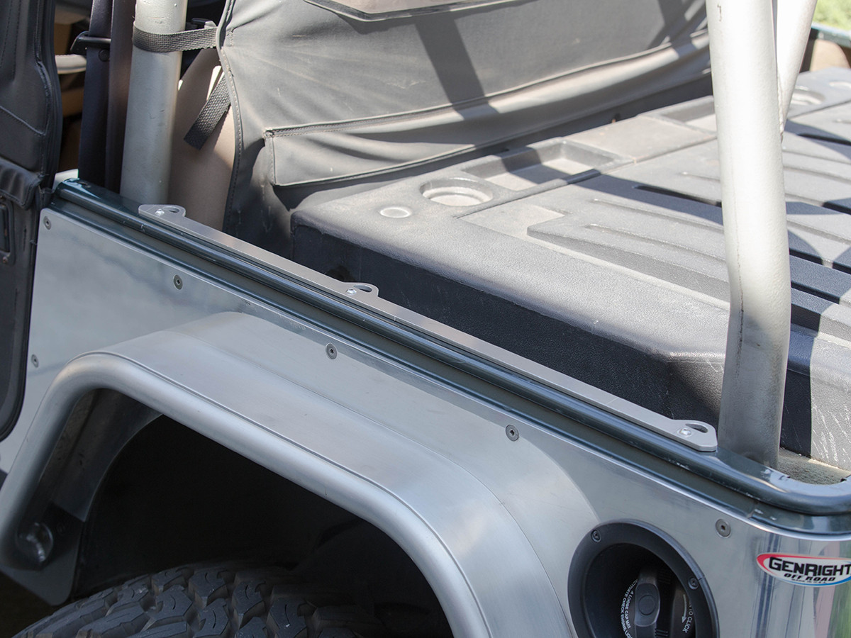 GenRight Jeep YJ Bed Rail Tie Down System Installed