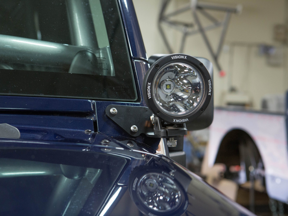 Jeep JK A-Pillar LED Light Mount Installed (Lights Not Included)