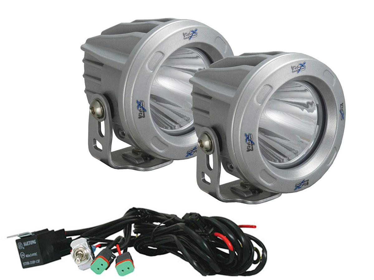 "Optimus 3"" Round Silver 10W LEDs 60° Flood Beam (Kit, 2 Lights)"