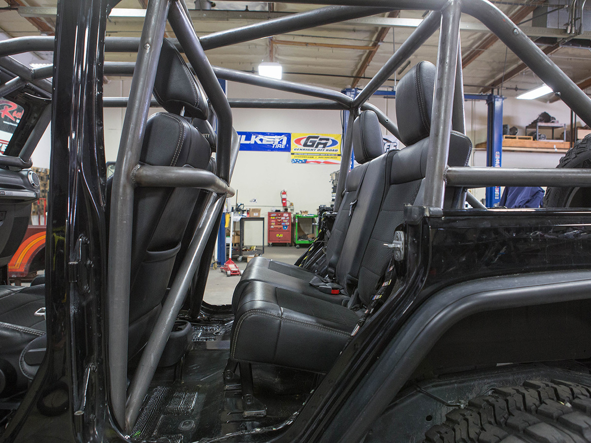 JK (4 Door) Full Roll Cage Kit Rear Seat View