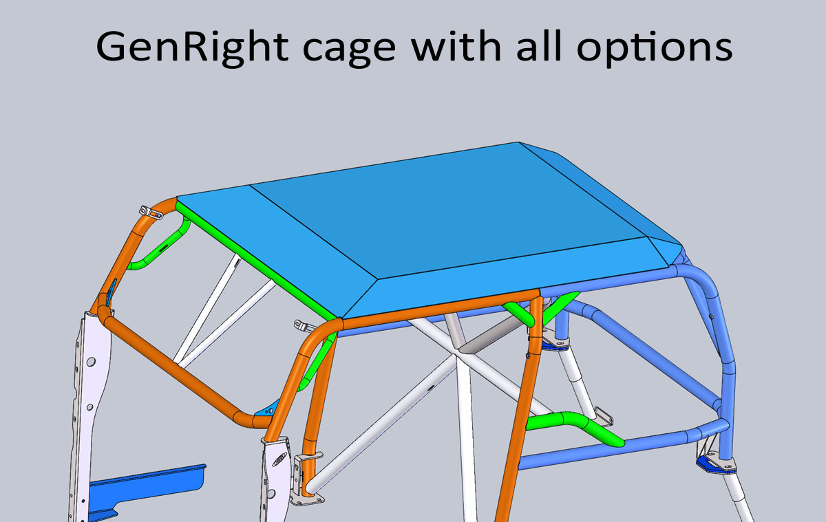 "Here is the 1/8"" thick aluminum roof on a TJ cage with all options"