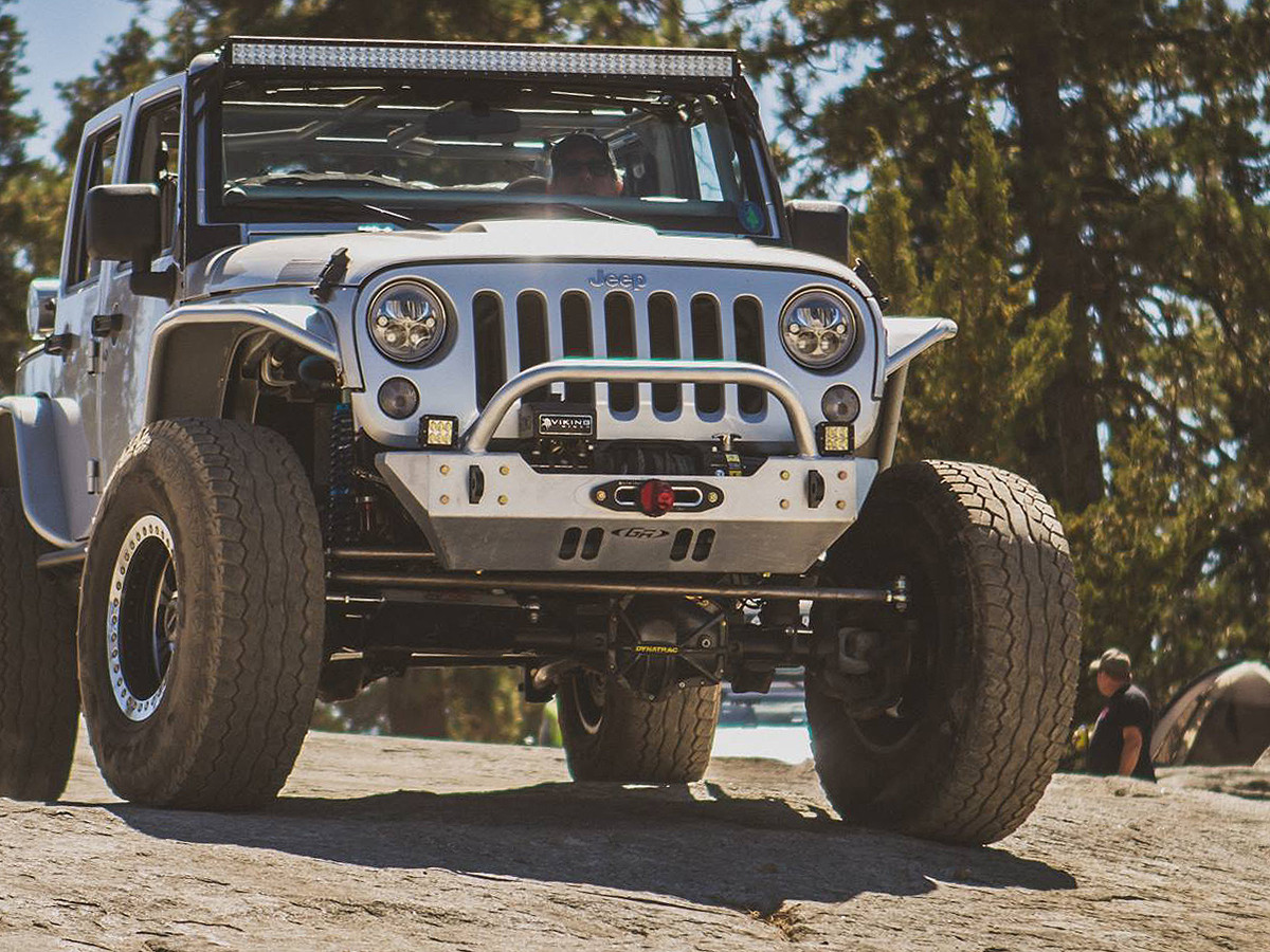 Shown here on a silver JK with Warn winch.