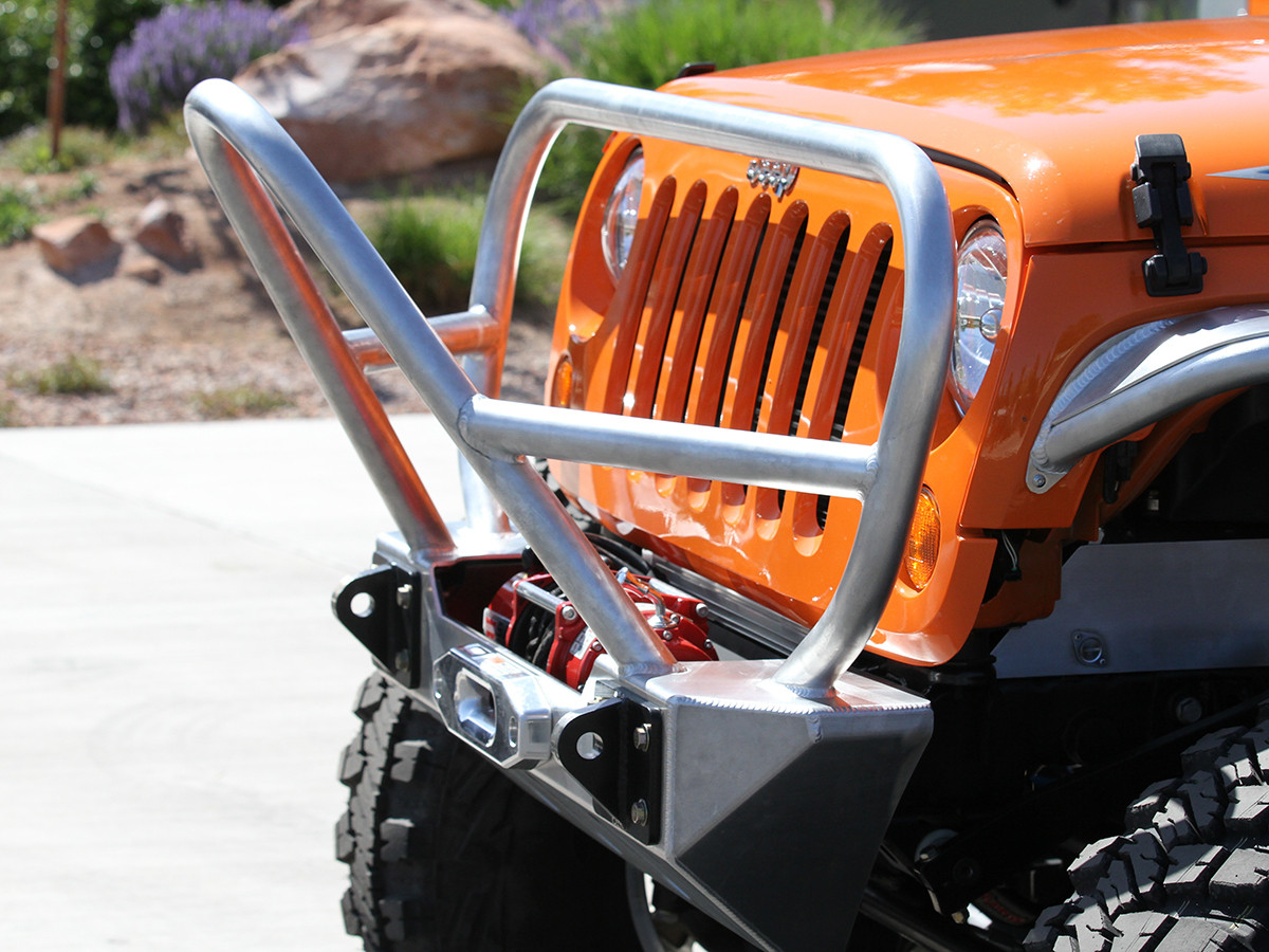 Jeep Grill Guards And Bumpers : Jk stinger grill guard front bumper aluminum genright
