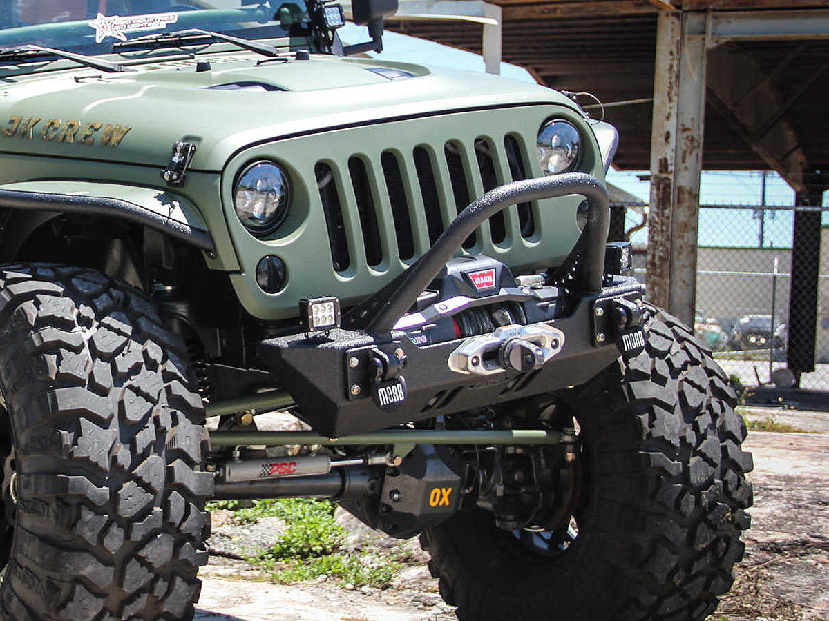 JK Winch Guard Front Bumper - Steel | GenRight Jeep Parts