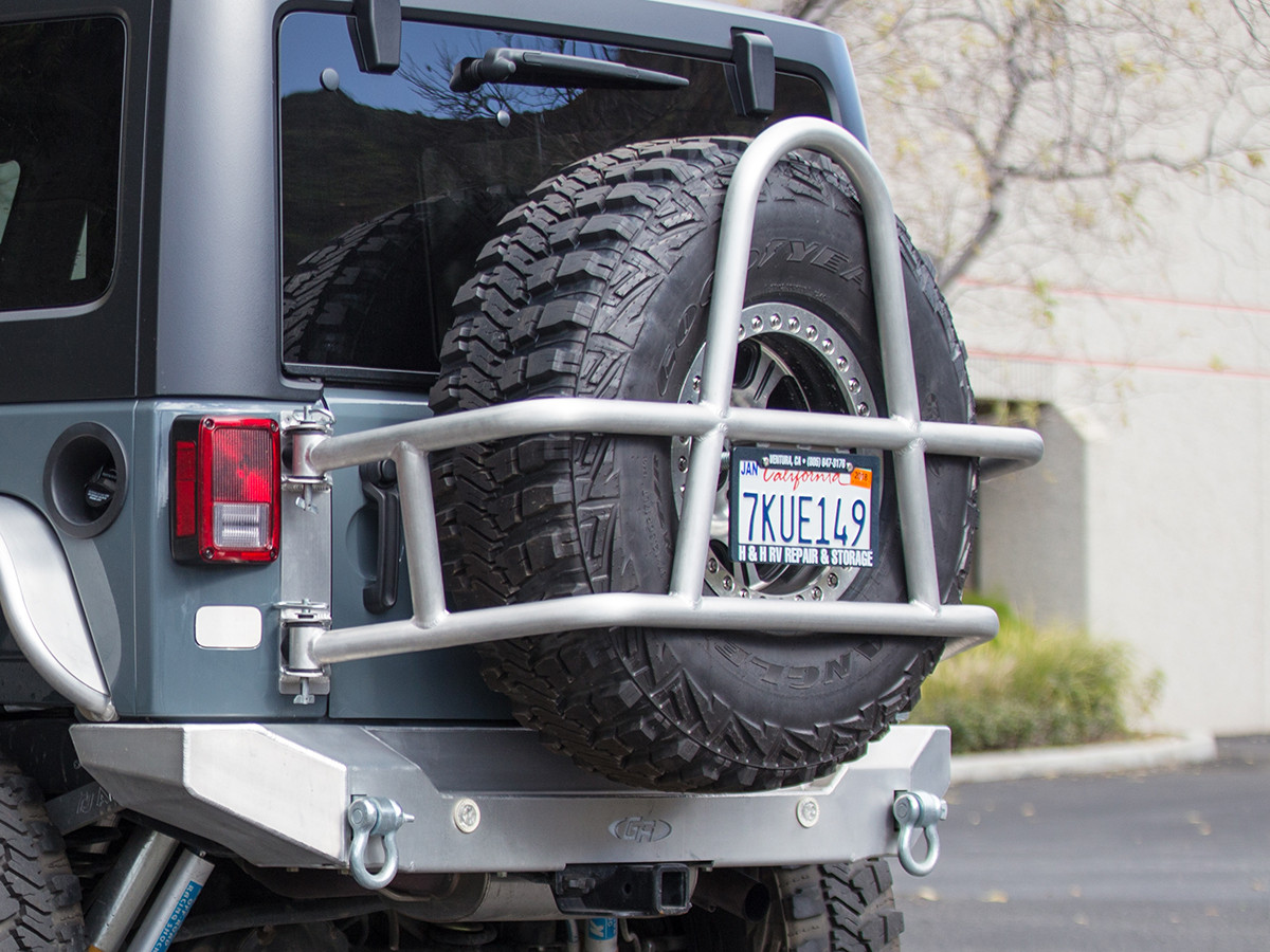 "37"" tire in the RTC3810 - GenRight Swing Out Rear Tire Carrier - Aluminum"
