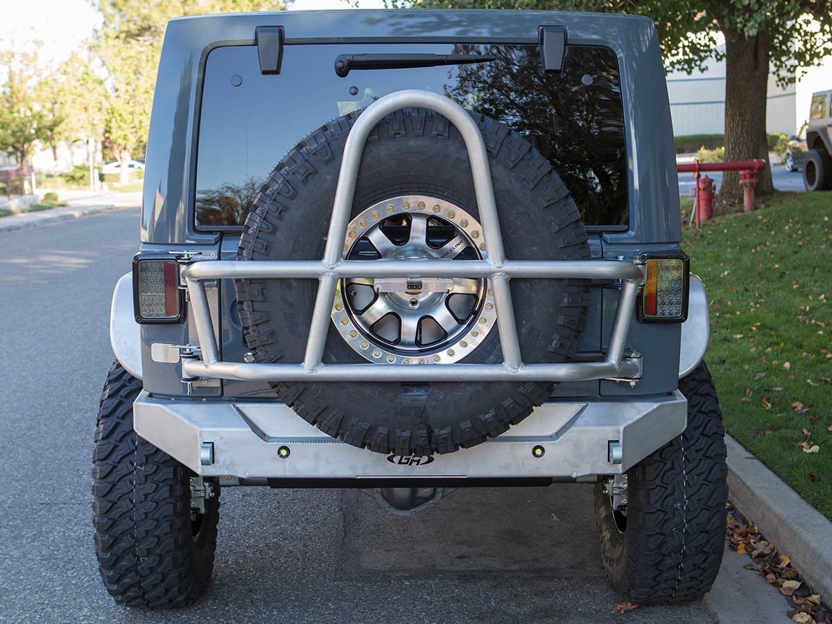 RTC3810 - Rear view of GenRight Swing Out Rear Tire Carrier - Aluminum