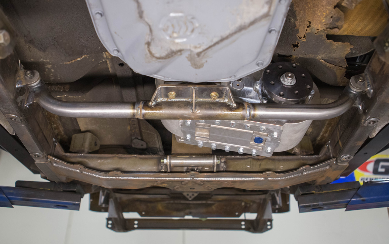 GenRight's Universal Universal Transmission Crossmember Kit Installed in a Jeep