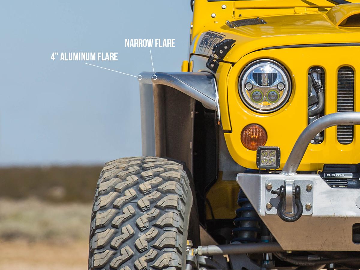 "Jeep JK Narrow Front Tube Fenders - Aluminum VS 4"" JK front tube fender width"