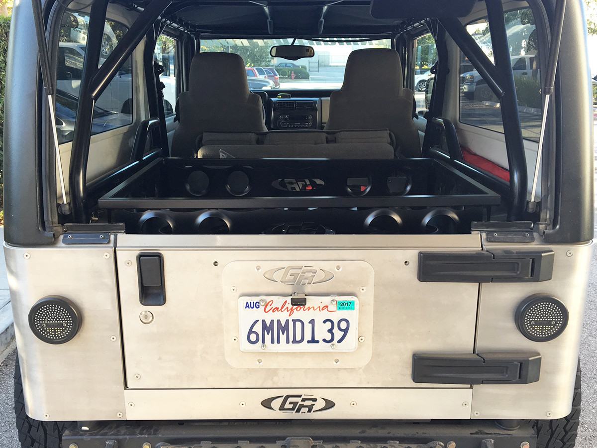 Installed on a Jeep LJ with a GenRight Roll Cage (Tailgate Closed)