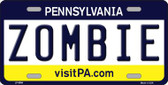 Zombie Pennsylvania State Background Novelty Wholesale Metal License Plate