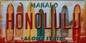 Honolulu Surfboards Hawaii State Background Novelty Wholesale Metal License Plate