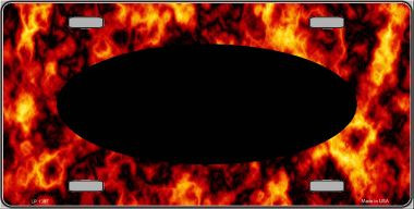 Pattern Fire Explosion With Black Center Oval Wholesale Metal Novelty License Plate