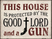 Protected By The Lord And Gun Wholesale Metal Novelty Parking Sign