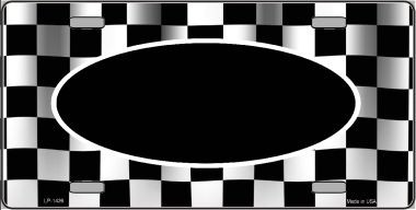 Pattern Waving Checkered Flag With Black Center Oval Wholesale Metal Novelty License Plate