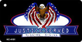 Justice Served Mini License Plate Metal Novelty Key Chain