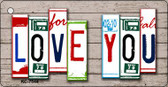 Love You License Plate Art Metal Novelty Mini License Plate Key Chain