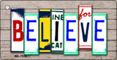 Believe License Plate Art Metal Novelty Mini License Plate Key Chain