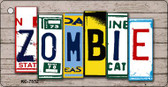 Zombie License Plate Art Metal Novelty Mini License Plate Key Chain