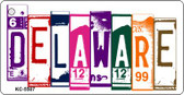 Delaware License Plate Art Metal Novelty Mini License Plate Key Chain