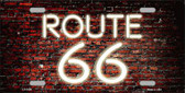 Route 66 Neon Brick Background Wholesale Metal Novelty License Plate