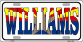 Williams Arizona Flag White Background Wholesale Metal Novelty License Plate LP-1493