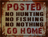 No Hunting No Fishing Wholesale Metal Novelty Parking Sign P-1114