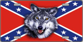 Confederate Flag Wolf Wholesale Metal Novelty License Plate LP-156