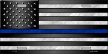 American Flag Thin Blue Line Metal License Plate