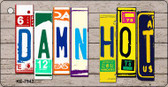 Damn Hot Wood License Plate Art Wholesale Novelty Key Chain