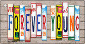 Forever Young Wood License Plate Art Wholesale Novelty Key Chain