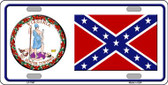 Confederate Flag Virginia Seal Novelty Wholesale Metal License Plate