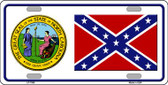 Confederate Flag North Carolina Seal Novelty Wholesale Metal License Plate