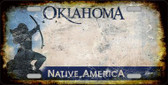 Oklahoma Background Rusty Novelty Wholesale Metal License Plate