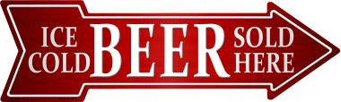 Ice Cold Beer Sold Here Wholesale Novelty Metal Arrow Sign