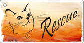 Rescue Cat Novelty Metal License Plate