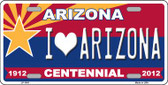 Arizona Centennial I Love Arizona Wholesale Metal Novelty License Plate LP-1841