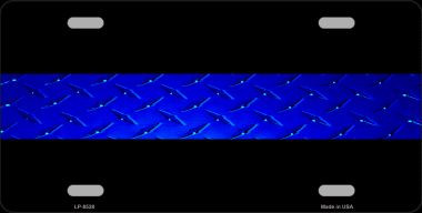 Police Diamond Thin Blue Line Wholesale Metal Novelty License Plate