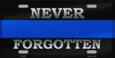 Never Forgotten Blue Line Wholesale Metal Novelty License Plate
