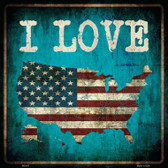 I Love USA Wholesale Novelty Metal Square Sign