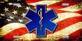 EMT Logo With USA Flag Wholesale Metal Novelty License Plate