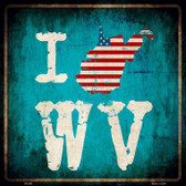 I Love West Virginia Wholesale Novelty Metal Square Sign