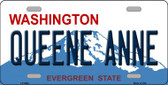 Queene Anne Washington Background Wholesale Metal Novelty License Plate