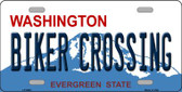 Biker Crossing Washington Background Wholesale Metal Novelty License Plate