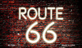 Route 66 Neon On Brick Wall Wholesale Novelty Metal Magnet