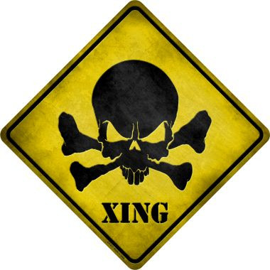 Skull Xing Wholesale Novelty Metal Crossing Sign