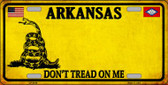 Arkansas Don't Tread On Me Wholesale Metal Novelty License Plate