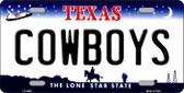 Cowboys Texas  State Background Novelty Wholesale Metal License Plate LP-2060