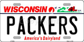Packers Wisconsin State Background Novelty Wholesale Metal License Plate LP-2064
